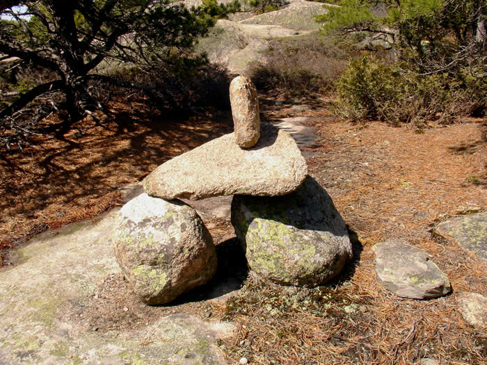 "A typical ""Cairn"", or directional rock stacks found along the trails of Acadia National Park"
