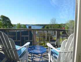 The Chelsea's private deck with harbor view (image taken with wide angle, water is closer than it appears here)