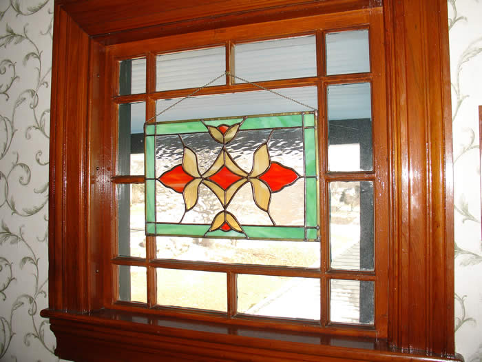 The inn features some original glass and hand crafted stained glass