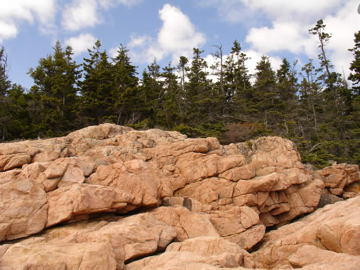 The salmon colored granite of Bass Harbor at the southern tip of Mount Desert Island