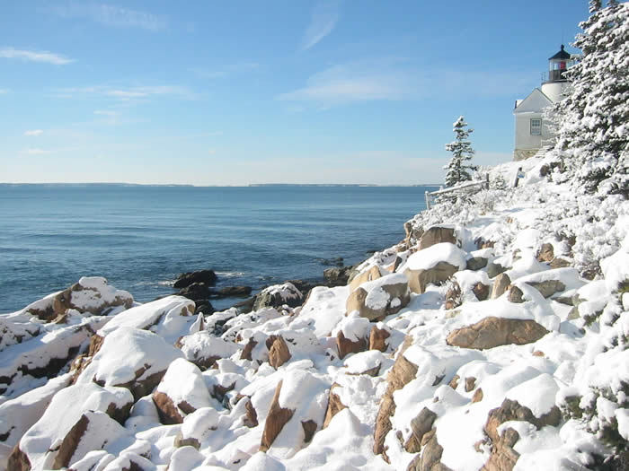 Gorgeous, blue winter skies in Maine (this is Bass Head Lighthouse in Bass Harbor)