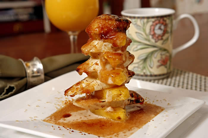 "Banana Pineapple ""Cairns"" with Cinnamon Cream and Bruleed Turbinado Sugar"
